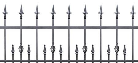 Valla forjado decorativo aislado panorama horizontal, silueta panor�mica grande, de hierro forjado fleur-de-lis enrejado