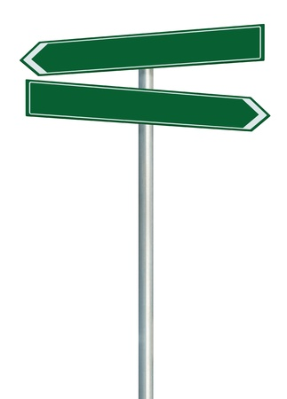 Right and left road route direction pointer this way sign, green isolated roadside signage, white traffic arrow frame roadsign, grey pole post Stock Photo - 16527571
