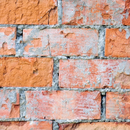 Red brick wall texture macro closeup, old detailed rough grunge cracked textured bricks copy space background, grungy weathered stained vintage brickwork cut vertical pattern photo