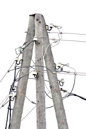 isolators: Old weathered aged wooden electricity pole post, wire hub and cables, vintage isolated closeup