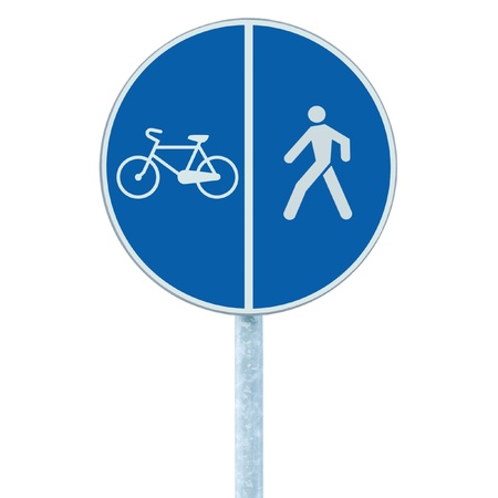 bycicle: Bicycle and pedestrian lane road sign on pole post, large blue round isolated bike cycling and walking walkway footpath route traffic roadside signage