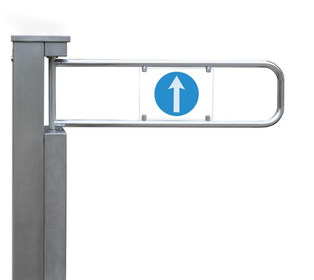 Entrance tourniquet, detailed turnstile, stainless steel, arrow sign, isolated closeup, access control concept Stock Photo