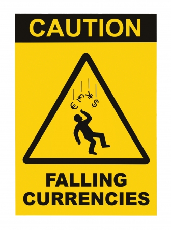 Caution Falling Currencies Objects Warning Sign Concept Isolated, black drop triangle over yellow, large macro, US Dollar, EU Euro, British Pound, Japanese Yen Currency Stock Photo - 20363943