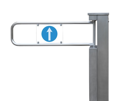 remote access: Entrance tourniquet, detailed turnstile, stainless steel, arrow sign, isolated closeup, access control concept Stock Photo