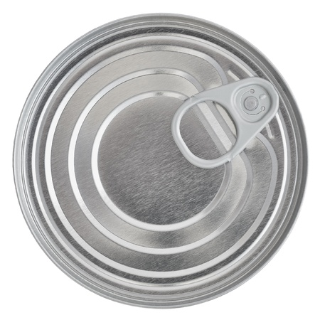 Tin Can Lid, Food Preserve Ringpull Canister Sealed Top, Isolated Macro Closeup Stock Photo