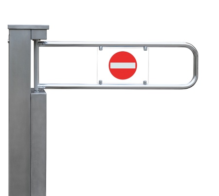tourniquet: Entrance tourniquet, detailed turnstile, stainless steel, red no entry sign, isolated closeup, access control concept