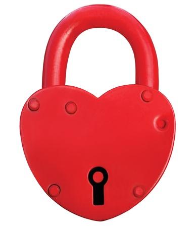 Red Heart Lock hangslot Romantiek Liefde Valentijnsdag Concept, Grote Afzonderlijke Macro Close-up Studio Shot Stockfoto