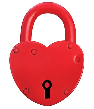 door lock love: Red Heart Lock Padlock Romance Love Valentine Day Concept, Large Isolated Macro Closeup Studio Shot