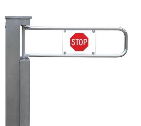 tourniquet: Entrance tourniquet, detailed turnstile, stainless steel, red stop sign, isolated closeup, access control concept Stock Photo