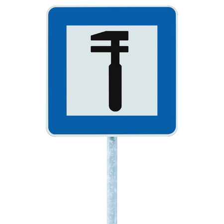 Auto Car Repair Shop Icon, Vehicle Mechanic Fix Service Garage Road Traffic Sign Roadside Pole Post Signage, Isolated photo