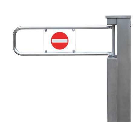 turnstile: Entrance tourniquet, detailed turnstile, stainless steel, red no entry sign, isolated closeup, access control concept