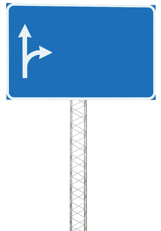 Motorway Road Junction Driving Direction Info Sign Panel Signboard, Large Isolated Blank Empty Blue Copy Space Roadside Traffic Signage Pole Post, White Route Arrows, Reinforced Signpost, Concrete Base, Bolts Stock Photo - 22621570