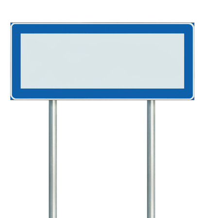 blue signage: Information Road Sign Isolated, Blank Empty Signpost Copy Space For Icons, Pictograms, Large Roadside Info Signage Pole Post Signboard Pointer In Blue Black White