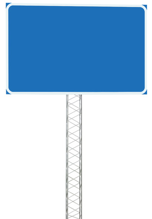 Motorway Road Junction Driving Direction Info Sign Panel Signboard, Large Isolated Blank Empty Blue Copy Space Roadside Traffic Signage Pole Post, Reinforced Signpost