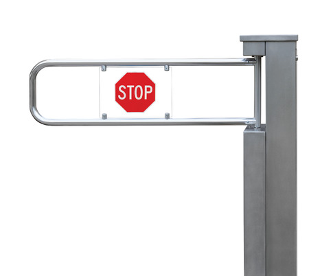 Entrance tourniquet, detailed turnstile, stainless steel, red stop sign, isolated closeup, access control concept photo
