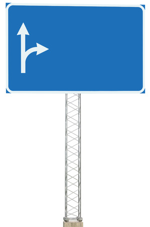 adboard: Motorway Road Junction Driving Direction Info Sign Panel Signboard, Large Isolated Blank Empty Blue Copy Space Roadside Traffic Signage Pole Post, White Route Arrows, Reinforced Signpost, Concrete Base, Bolts