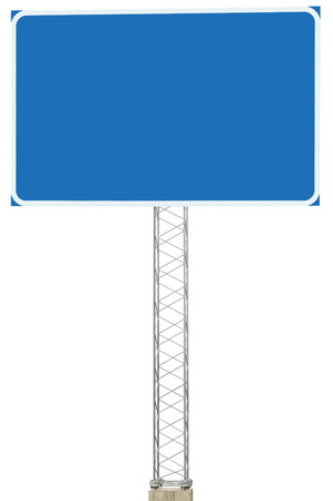 Motorway Road Junction Driving Direction Info Sign Panel Signboard, Large Isolated Blank Empty Blue Copy Space Roadside Traffic Signage Pole Post, Reinforced Signpost, Concrete Base, Bolts Stock Photo - 23330473