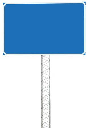 Motorway Road Junction Driving Direction Info Sign Panel Signboard, Large Isolated Blank Empty Blue Copy Space Roadside Traffic Signage Pole Post, Reinforced Signpost Stock Photo - 24528027