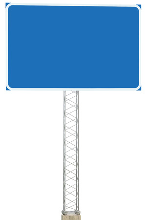 Motorway Road Junction Driving Direction Info Sign Panel Signboard, Large Isolated Blank Empty Blue Copy Space Roadside Traffic Signage Pole Post, Reinforced Signpost, Concrete Base, Bolts Stock Photo - 24520406