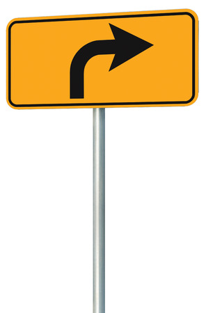 Right turn ahead route road sign perspective, yellow isolated roadside traffic signage, this way only direction pointer, black arrow frame roadsign, grey pole post photo