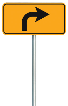 Right turn ahead route road sign, yellow isolated roadside traffic signage, this way only direction pointer, black arrow frame roadsign, grey pole post photo