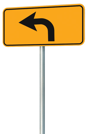 Left turn ahead route road sign perspective photo