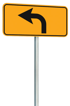 turn sign: Left turn ahead route road sign perspective Stock Photo