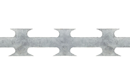 deter: Barbed tape razor wire seamless macro closeup, large grey isolated horizontal detailed studio shot