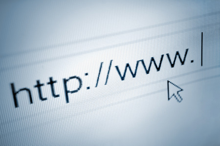 cursor pointing at http www text in browsing browser address bar, arrow pointer, soft macro web url link page closeup