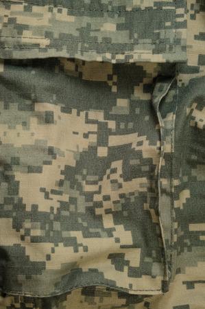acu: Universal camouflage pattern cargo storage pocket, army combat uniform digital camo, USA military ACU macro closeup, detailed large rip-stop fabric texture background, crumpled, wrinkled, foliage green, yellow desert sand tan, urban gray grey NYCO, nylon,