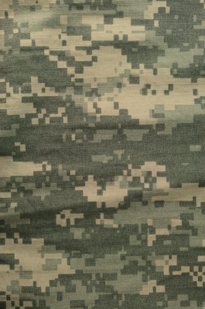 Universal camouflage pattern, army combat uniform digital camo, USA military ACU macro closeup, detailed large rip-stop fabric texture background, crumpled, wrinkled, foliage green, yellow desert sand tan, urban gray grey NYCO, nylon, cotton, vertical tex