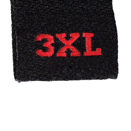 extent: 3XL size clothing label tag, black fabric, red XXXL embroidery text, isolated vertical, large detailed macro closeup Stock Photo