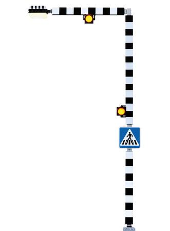 semaforo peatonal: Peatón cruce cebra cruce de firmar alerta de advertencia, semáforos Belisha balizas, señalización en azul, negro y blanco a rayas señal poste, brillante amarillo calle lámpara linterna luz, el concepto de la seguridad vial, gran detalle aislado detalle