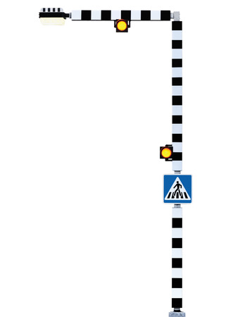 blue signage: Zebra crossing sign pedestrian cross alert warning, Belisha Beacons traffic lights, signage in blue, black and white striped signpost pole post, bright yellow street light lamp lantern, road safety concept, large detailed isolated closeup