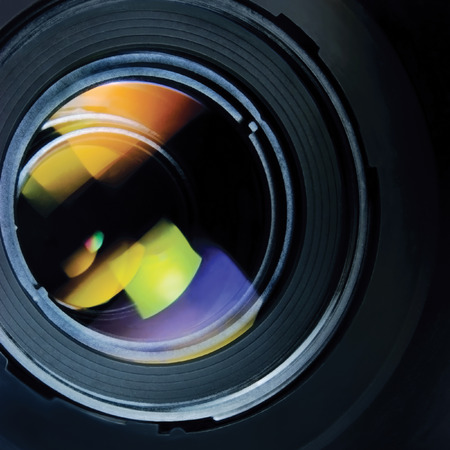 studio picture: Lens and hood large detailed macro zoom closeup Stock Photo