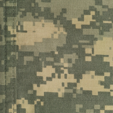 Universal camouflage pattern, army combat uniform digital camo, double thread seam, USA military ACU macro closeup, detailed large rip-stop fabric texture background, foliage green, yellow desert sand tan, urban gray grey NYCO, nylon, cotton, vertical tex Stock Photo