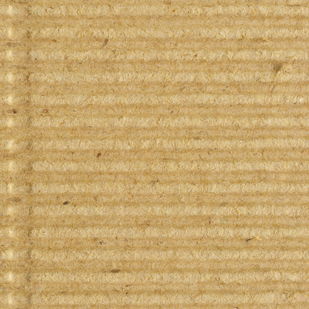 goffer: Corrugated cardboard goffer paper texture, bright rough old recycled goffered crimped textured blank empty grunge copy space background, large aged detailed grungy macro closeup, vertical taupe, grey, gray, brown, tan, yellow, beige detail, horizontal rid Stock Photo