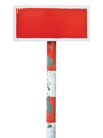 Red hand-painted prohibition warning sign board horizontal metal signage, white frame, copy space background, old aged weathered isolated blank empty signboard rectangle, rectangular plate, rusted signpost, rusty grunge vintage white pole post photo