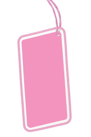 pricetag: Blank Pink Cardboard Sale Tag Empty Price Label Pricetag Badge Isolated Macro Closeup Vertical Copy Space Stock Photo