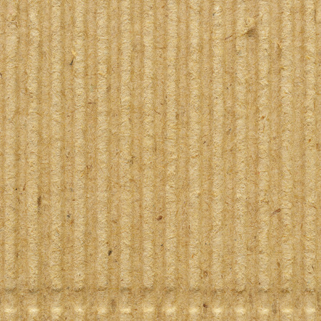 Corrugated cardboard goffer paper texture, bright rough old recycled goffered crimped textured blank empty grunge copy space background, large aged detailed grungy macro closeup, vertical taupe, grey, gray, brown, tan, yellow, beige detail, horizontal rid Stock Photo