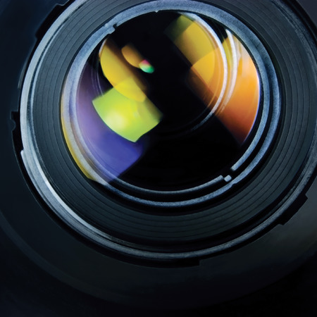 tv camera: Lens and hood large detailed macro zoom closeup Stock Photo