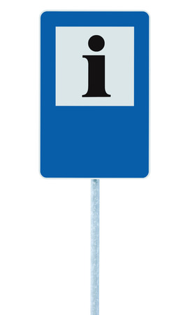roadsign: Info sign in blue, black i letter icon, white frame, blank empty copy space background, isolated roadside information signage on pole post, large detailed framed roadsign closeup