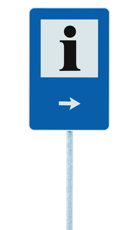 roadsign: Info sign in blue, black i letter icon, white frame, right hand pointing arrow, isolated roadside information signage on pole post, large detailed framed roadsign closeup Stock Photo