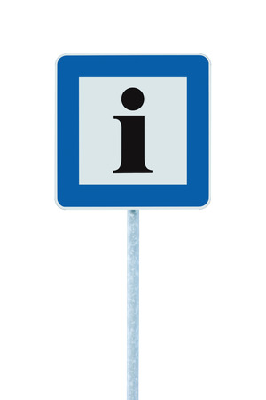 roadsign: Info sign in blue, black i letter icon, white frame, isolated roadside information signage on pole post, large detailed framed roadsign closeup Stock Photo