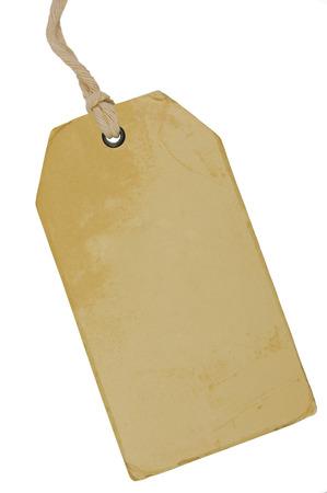 pricetag: Blank Beige Vintage Cardboard Sale Tag, Empty Grunge Price Label Pricetag Badge, Isolated Grungy Macro Closeup Vertical Copy Space