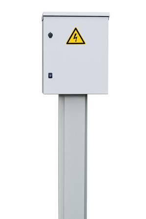 power distribution: Power distribution wiring switchboard panel outdoor unit grey brand new distributing board compartment box gray cabinet yellow high voltage warning triangle sign large detailed isolated closeup