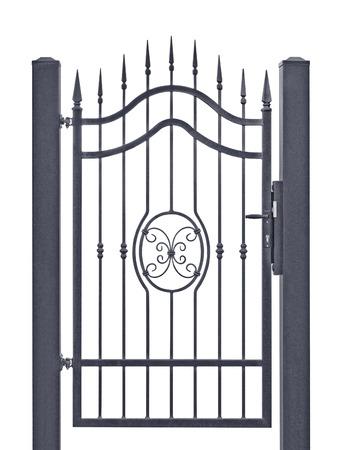 wrought iron: Forged decorative pedestrian gate, isolated vertical large detailed dark grey silhouette closeup, wrought iron fleur-de-lis lattice Stock Photo