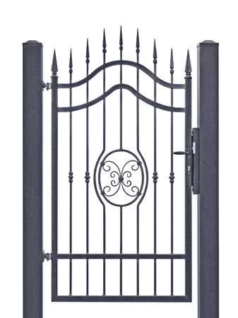Forged decorative pedestrian gate, isolated vertical large detailed dark grey silhouette closeup, wrought iron fleur-de-lis lattice Archivio Fotografico
