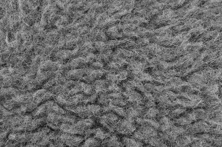merino sheep: Raw Merino Sheep Wool Macro Closeup, Large Detailed Grey Textured Pattern Copy Space Background, Horizontal Gray Texture Studio Shot Stock Photo