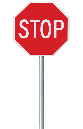 a sign: Red Stop Sign Stock Photo